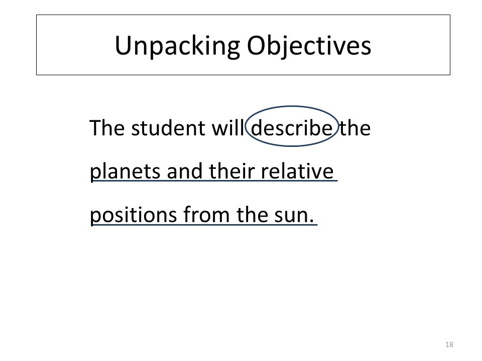Unpacking Objectives The student will describe the planets and their relative positions from the sun.