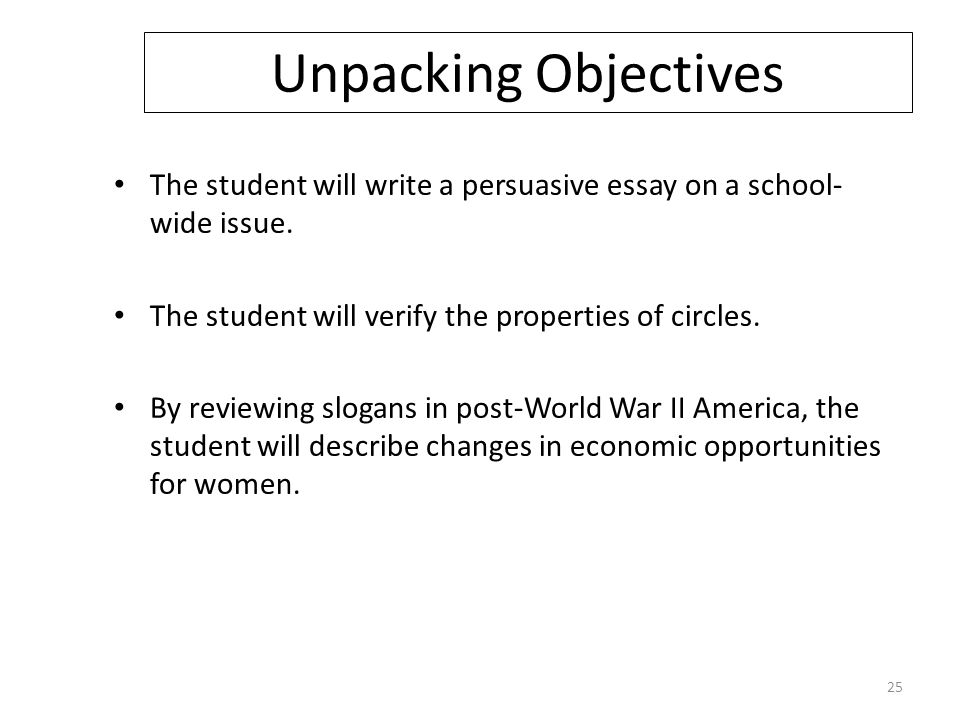 Unpacking Objectives The student will write a persuasive essay on a school- wide issue.