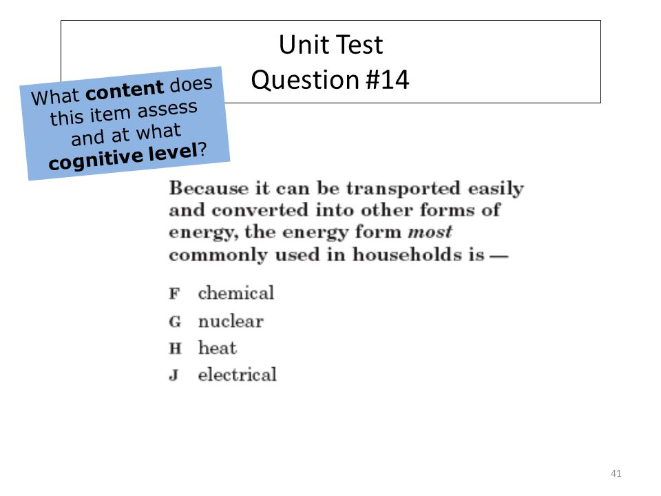 Unit Test Question #14 What content does this item assess and at what cognitive level 41