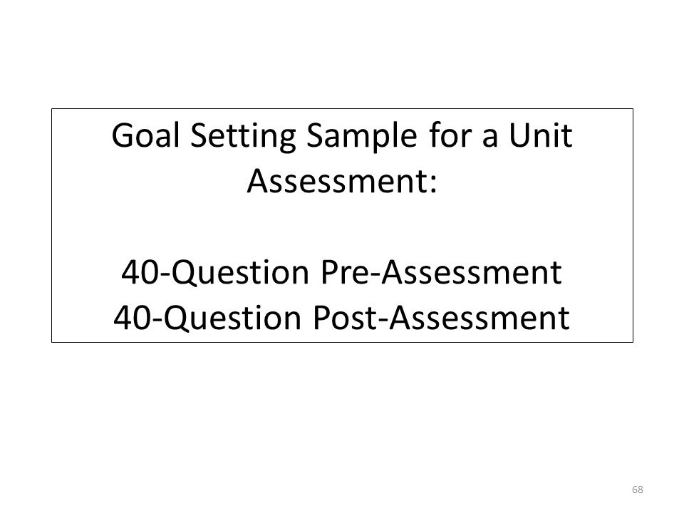 Goal Setting Sample for a Unit Assessment: 40-Question Pre-Assessment 40-Question Post-Assessment 68