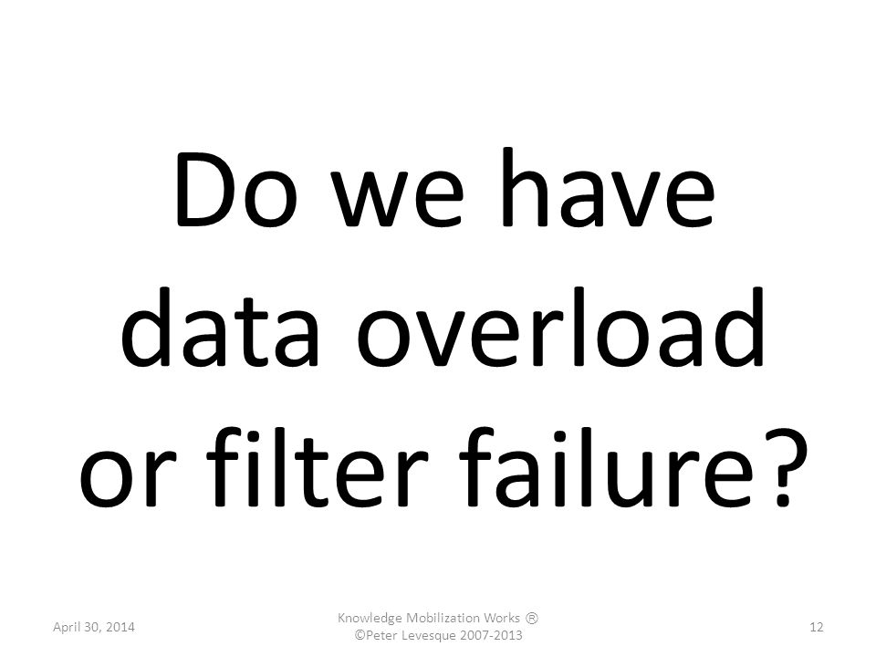 Do we have data overload or filter failure.