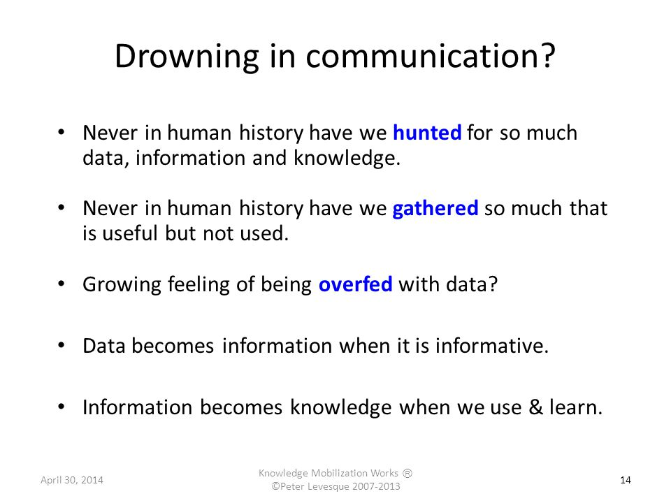 14 Drowning in communication.