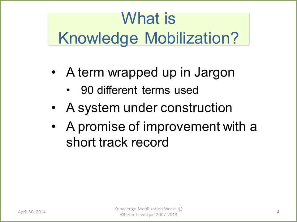 A term wrapped up in Jargon 90 different terms used A system under construction A promise of improvement with a short track record What is Knowledge Mobilization.