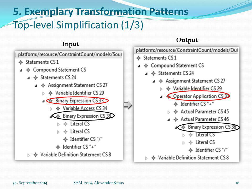 5. Exemplary Transformation Patterns Top-level Simplification (1/3) 30.