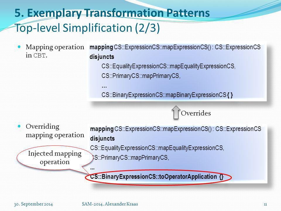 5. Exemplary Transformation Patterns Top-level Simplification (2/3) Mapping operation in CBT.