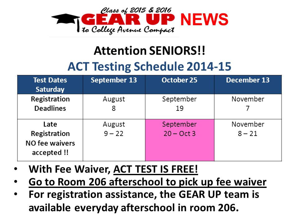NEWS Attention SENIORS!.ACT Testing Schedule 2014-15 With Fee Waiver, ACT TEST IS FREE.