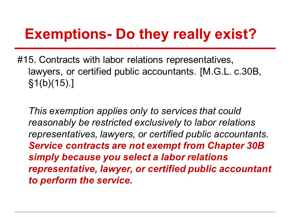 Exemptions- Do they really exist. #15.