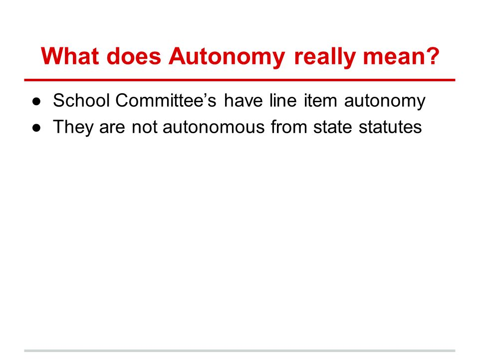 What does Autonomy really mean.