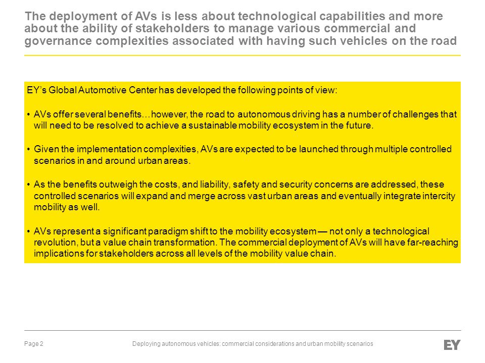 Page 3Deploying autonomous vehicles: commercial considerations and urban mobility scenarios AVs are coming but through controlled deployment in an integrated urban mobility ecosystem..