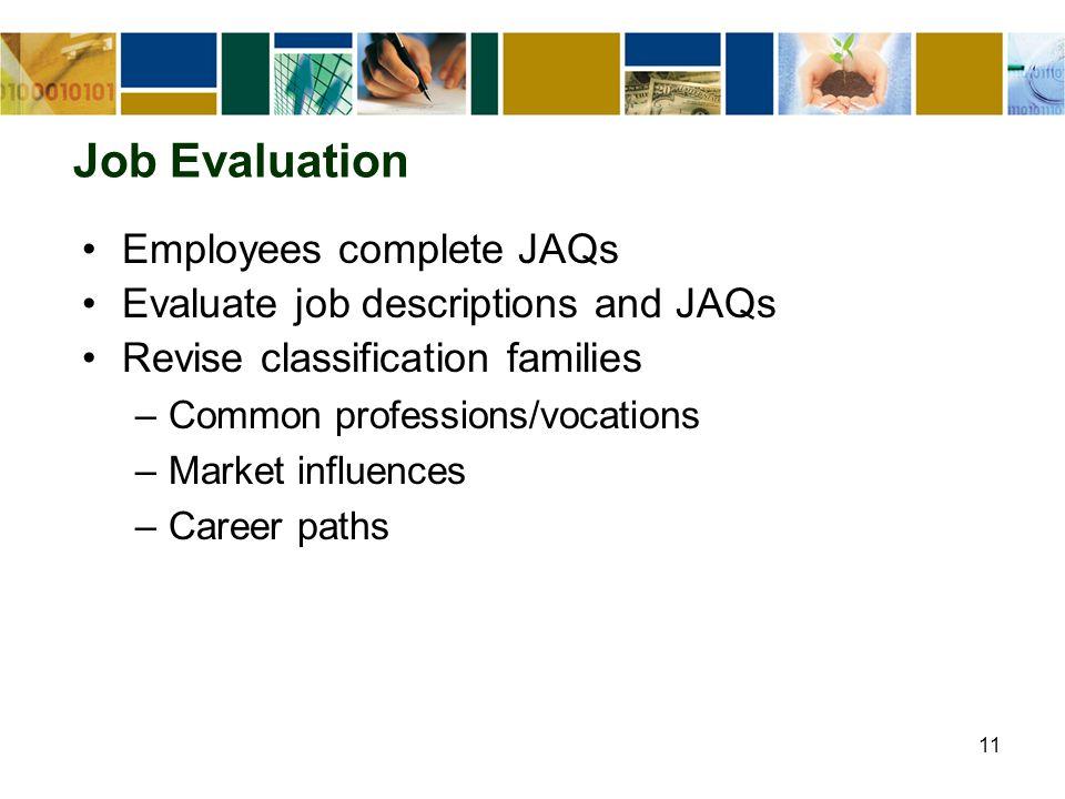 11 Job Evaluation Employees complete JAQs Evaluate job descriptions and JAQs Revise classification families –Common professions/vocations –Market influences –Career paths