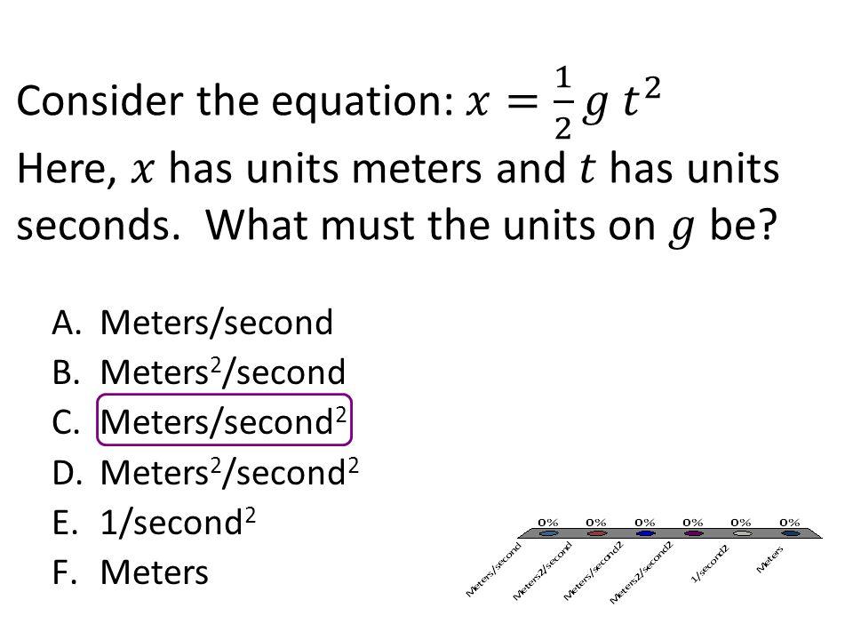 A.Meters/second B.Meters 2 /second C.Meters/second 2 D.Meters 2 /second 2 E.1/second 2 F.Meters