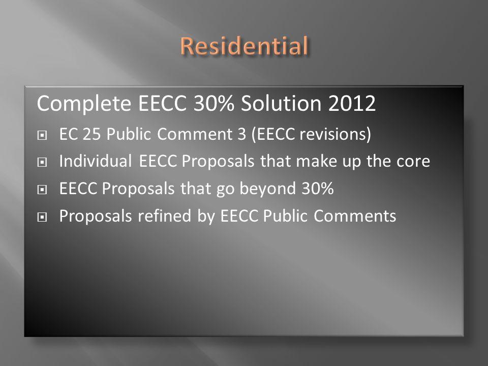 Complete EECC 30% Solution 2012  EC 25 Public Comment 3 (EECC revisions)  Individual EECC Proposals that make up the core  EECC Proposals that go b