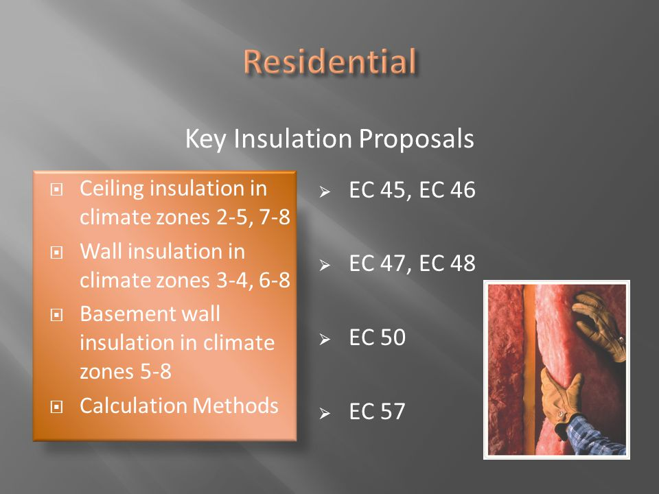 Key Insulation Proposals  Ceiling insulation in climate zones 2-5, 7-8  Wall insulation in climate zones 3-4, 6-8  Basement wall insulation in clim