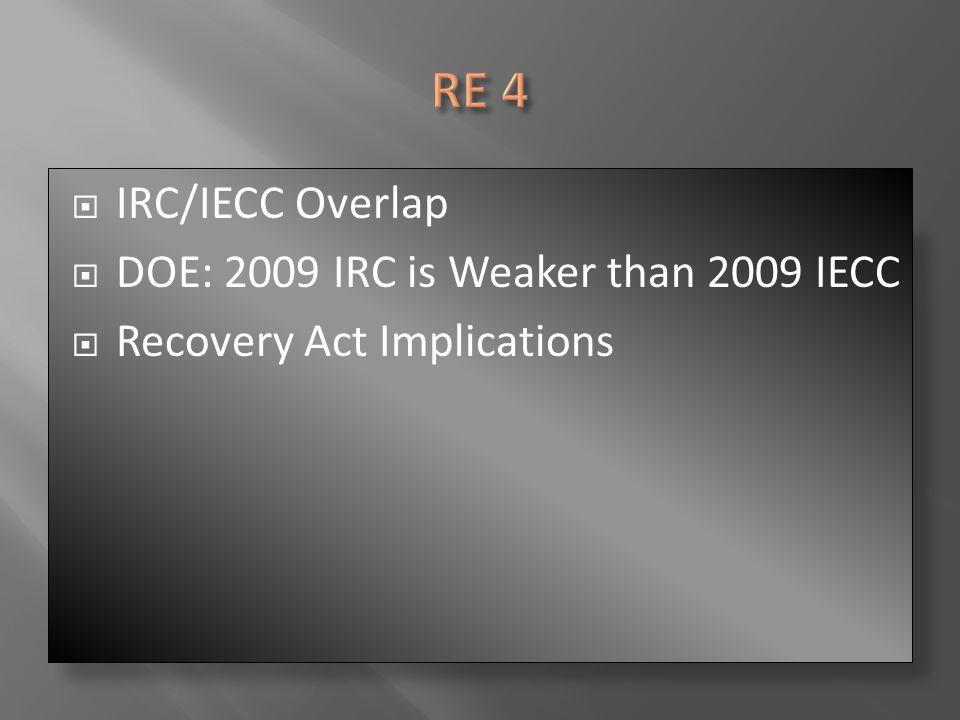  IRC/IECC Overlap  DOE: 2009 IRC is Weaker than 2009 IECC  Recovery Act Implications