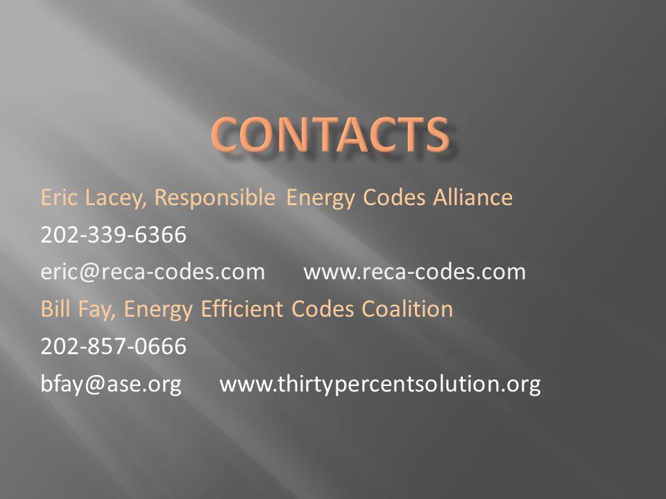 Eric Lacey, Responsible Energy Codes Alliance 202-339-6366 eric@reca-codes.com www.reca-codes.com Bill Fay, Energy Efficient Codes Coalition 202-857-0