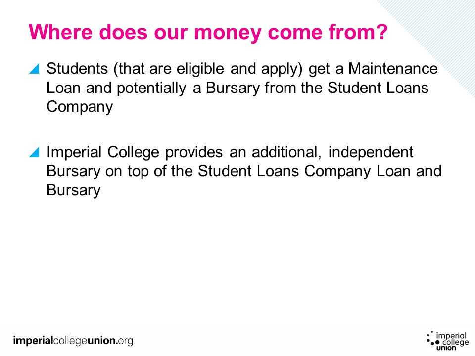 Where does our money come from? Students (that are eligible and apply) get a Maintenance Loan and potentially a Bursary from the Student Loans Company