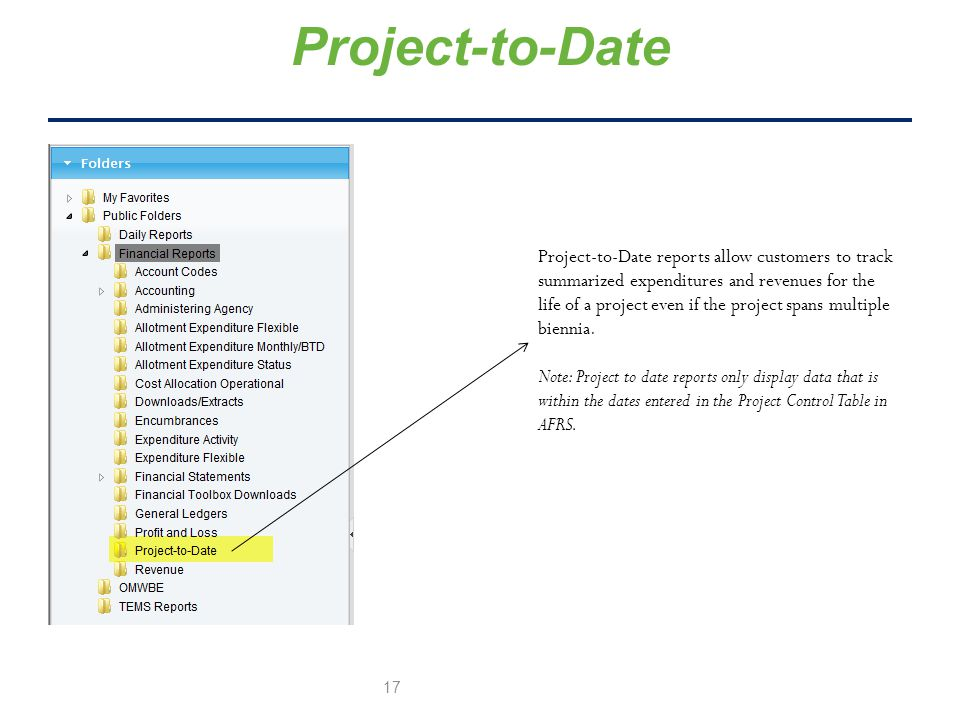 Project-to-Date Project-to-Date reports allow customers to track summarized expenditures and revenues for the life of a project even if the project spans multiple biennia.
