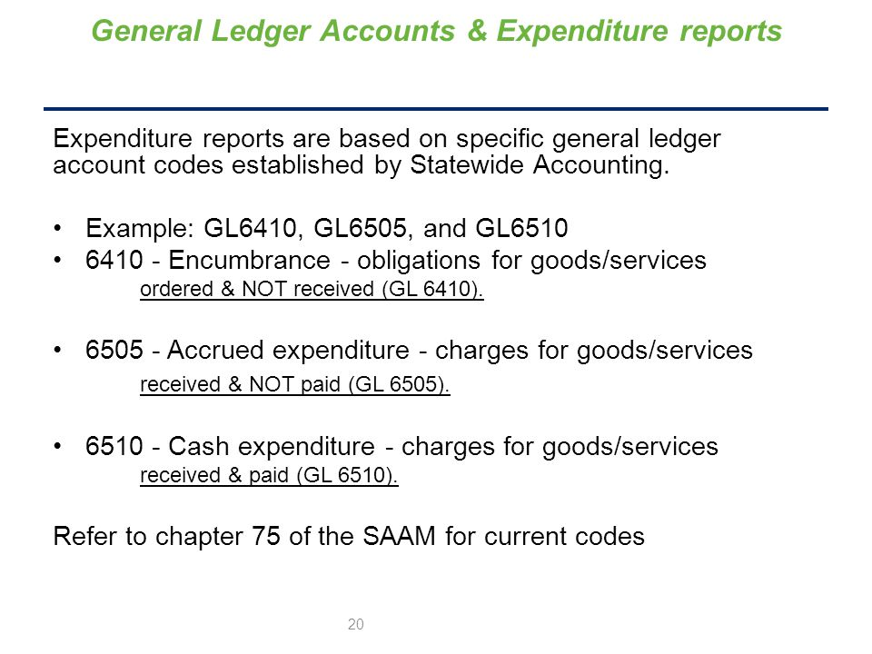 Expenditure reports are based on specific general ledger account codes established by Statewide Accounting.
