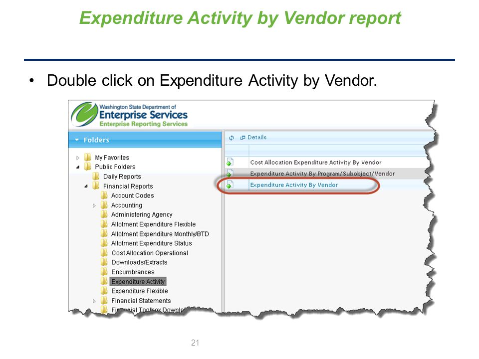 Expenditure Activity by Vendor report Double click on Expenditure Activity by Vendor. 21