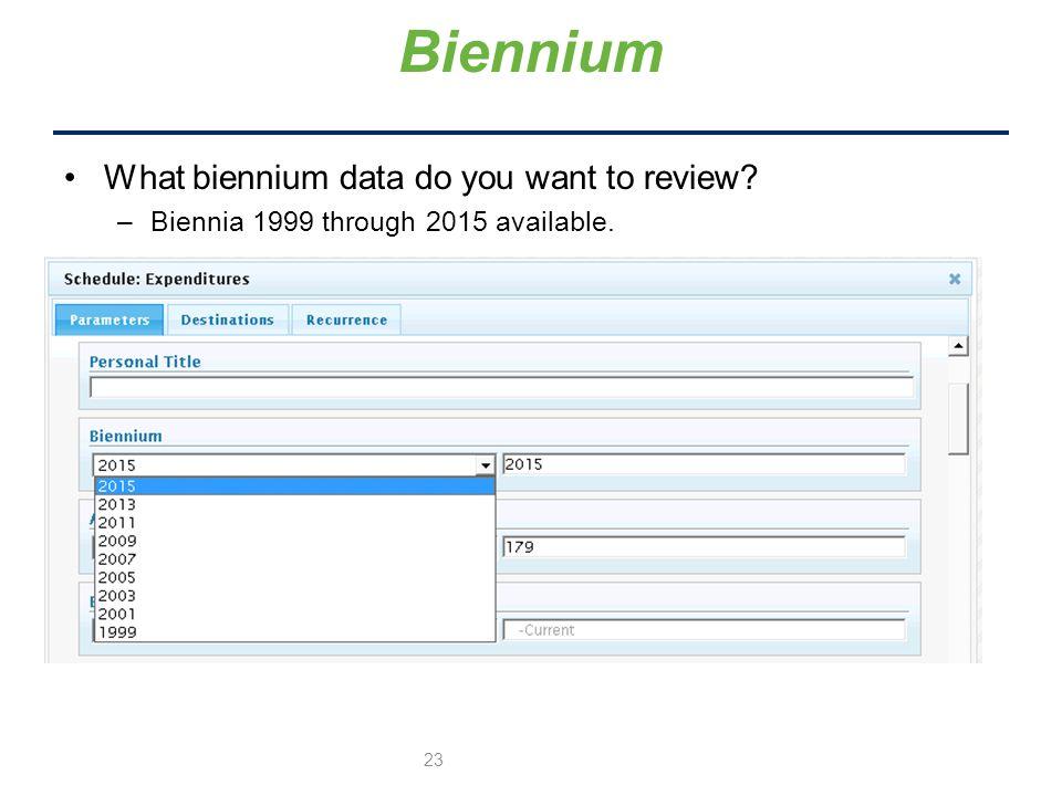 What biennium data do you want to review –Biennia 1999 through 2015 available. Biennium 23