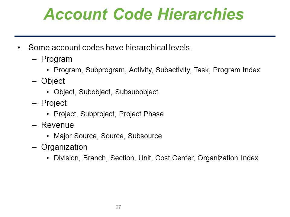 Some account codes have hierarchical levels.