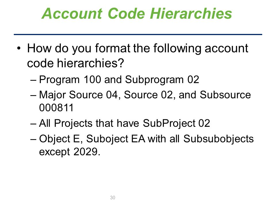 How do you format the following account code hierarchies.