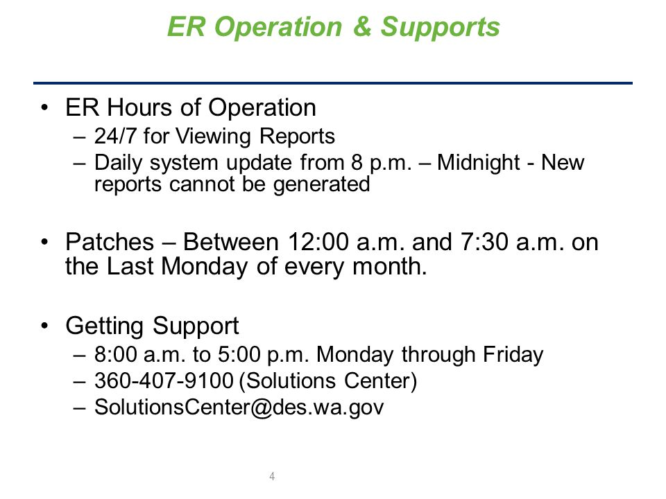 ER Hours of Operation –24/7 for Viewing Reports –Daily system update from 8 p.m.