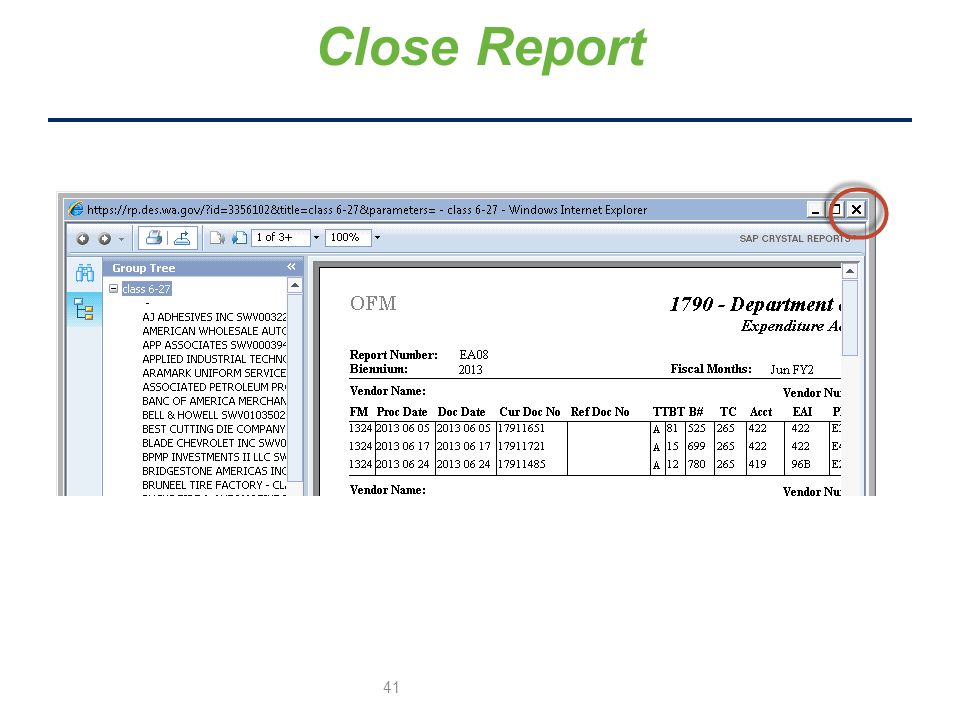 Close Report 41