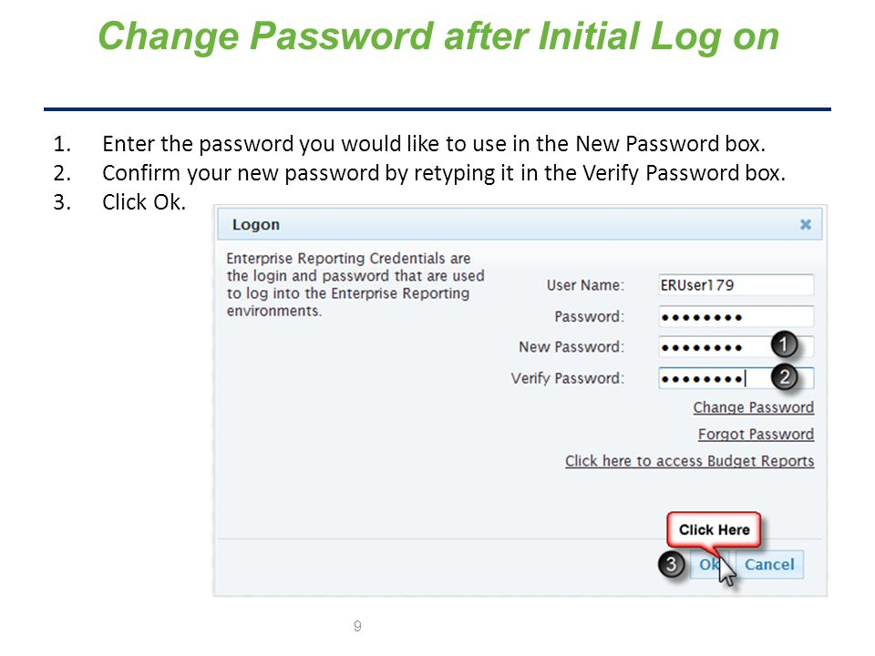Change Password after Initial Log on 1.Enter the password you would like to use in the New Password box.