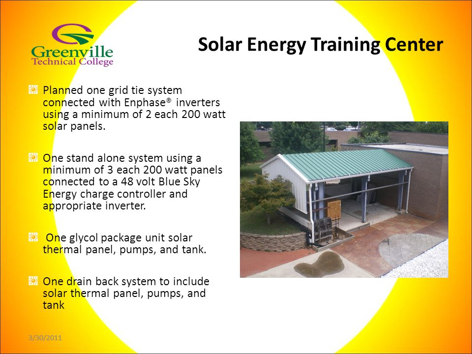 3/30/2011 Planned one grid tie system connected with Enphase® inverters using a minimum of 2 each 200 watt solar panels.