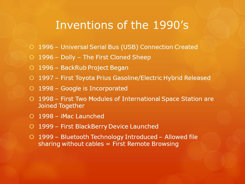 Inventions of the 2000's  2001 – First iPod Launched  2004 – Facebook Created  2005 – YouTube Created  2006 – Wii Launched  2006 – PS3 Introduced  2006 – Abiocor Artificial Heart Approved by FDA  2007 – First iPhone Launched  2010 – Xbox 360 Kinect Introduced  2010 – First iPad Released