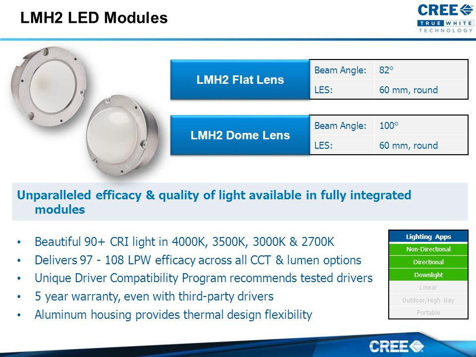 Unparalleled efficacy & quality of light available in fully integrated modules Beautiful 90+ CRI light in 4000K, 3500K, 3000K & 2700K Delivers 97 - 108 LPW efficacy across all CCT & lumen options Unique Driver Compatibility Program recommends tested drivers 5 year warranty, even with third-party drivers Aluminum housing provides thermal design flexibility LMH2 LED Modules Beam Angle:82° LES:60 mm, round LMH2 Flat Lens Beam Angle:100° LES:60 mm, round LMH2 Dome Lens Lighting Apps Non-Directional Directional Downlight Linear Outdoor/High Bay Portable
