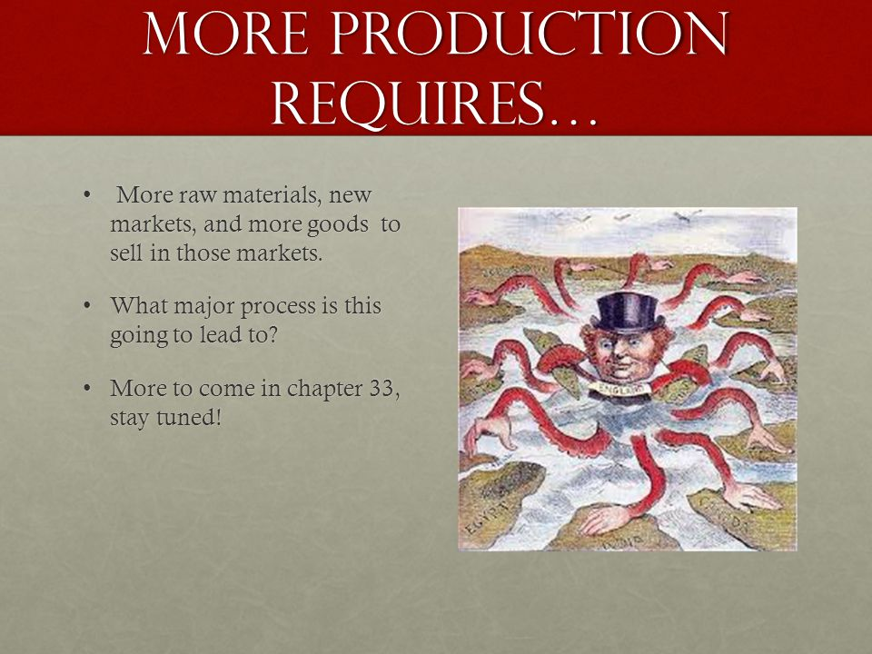 More production requires… More raw materials, new markets, and more goods to sell in those markets.