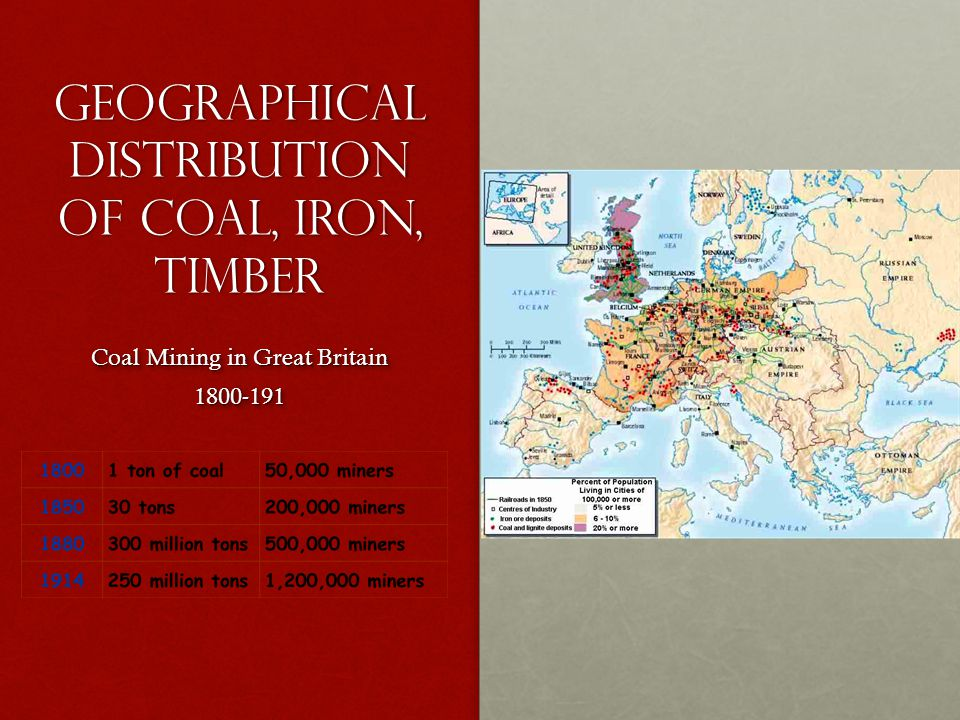 Geographical distribution of coal, iron, timber Coal Mining in Great Britain 1800-191 1800-191