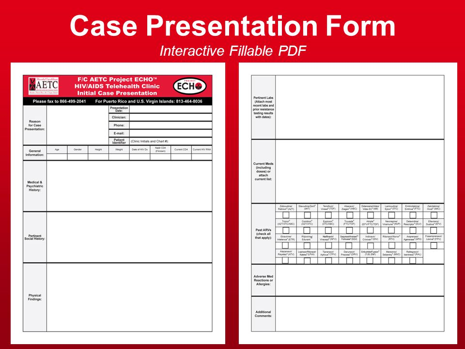 Case Presentation Form Interactive Fillable PDF