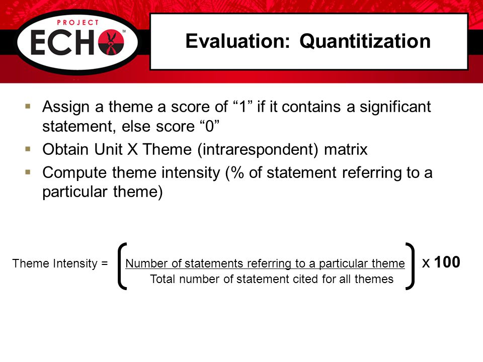Evaluation: Quantitization  Assign a theme a score of 1 if it contains a significant statement, else score 0  Obtain Unit X Theme (intrarespondent) matrix  Compute theme intensity (% of statement referring to a particular theme) Theme Intensity = Number of statements referring to a particular theme x 100 Total number of statement cited for all themes