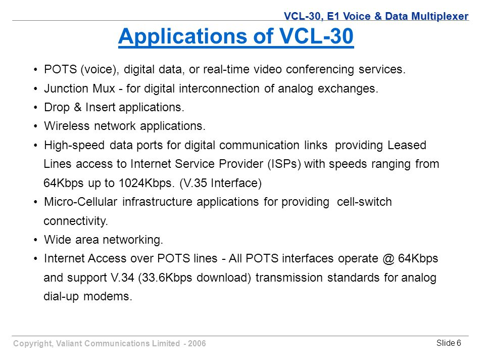 Copyright, Valiant Communications Limited - 2006Slide 6 Applications of VCL-30 POTS (voice), digital data, or real-time video conferencing services.