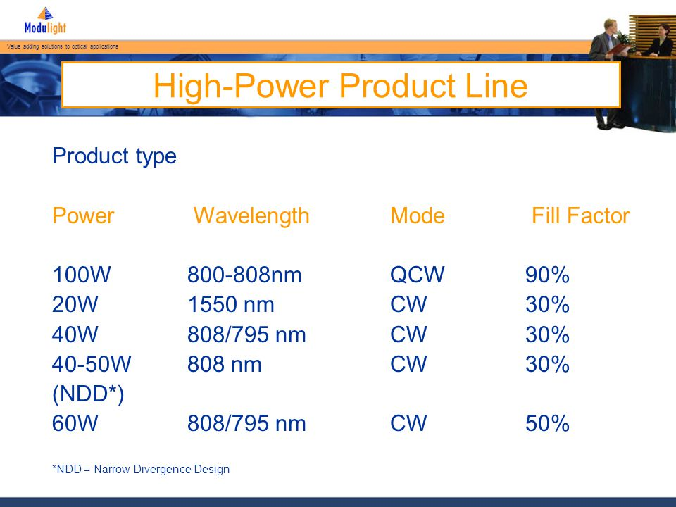 Value adding solutions to optical applications ML-B-15XX-FP-CW-15K  15W unmounted multi-mode bar product  30% Fill Factor Bar for CW operation  Higher power version available with high Fill Factor  10mm x 1.0mm  130 ± 10 micron thickness