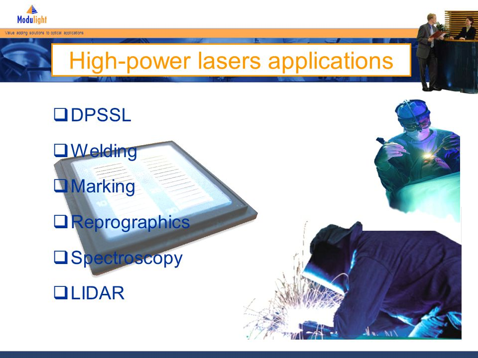 Value adding solutions to optical applications ML-B-15XX-FP-CW-15K Current (A) Optical Power (W) Conversion Efficiency (%) Forward Voltage (V) 25°C, Active cooling, CW mode
