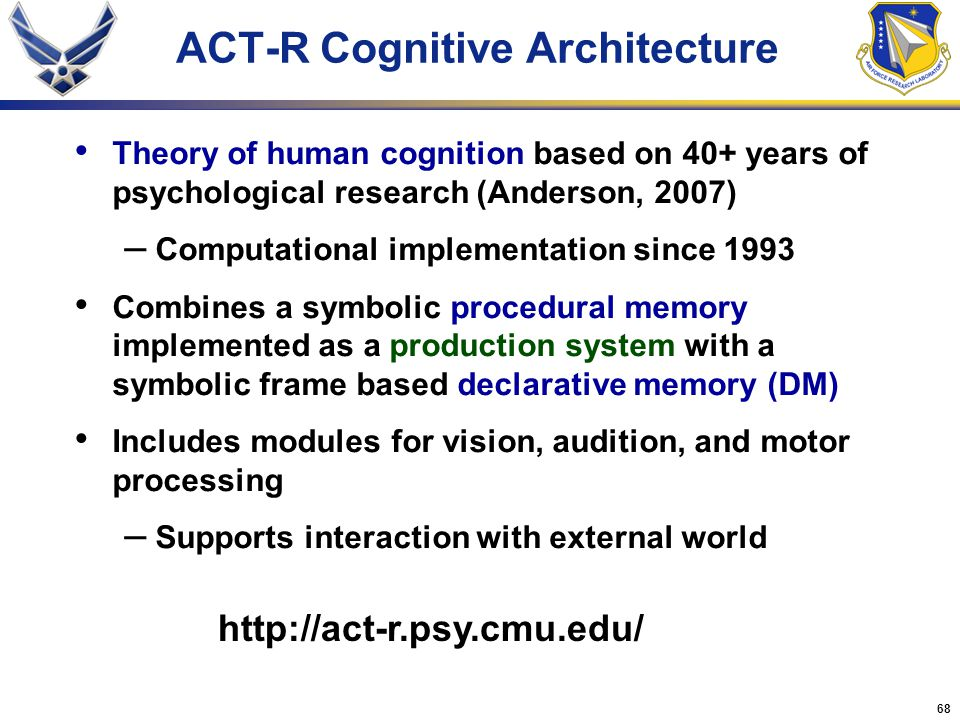 68 ACT-R Cognitive Architecture Theory of human cognition based on 40+ years of psychological research (Anderson, 2007) – Computational implementation