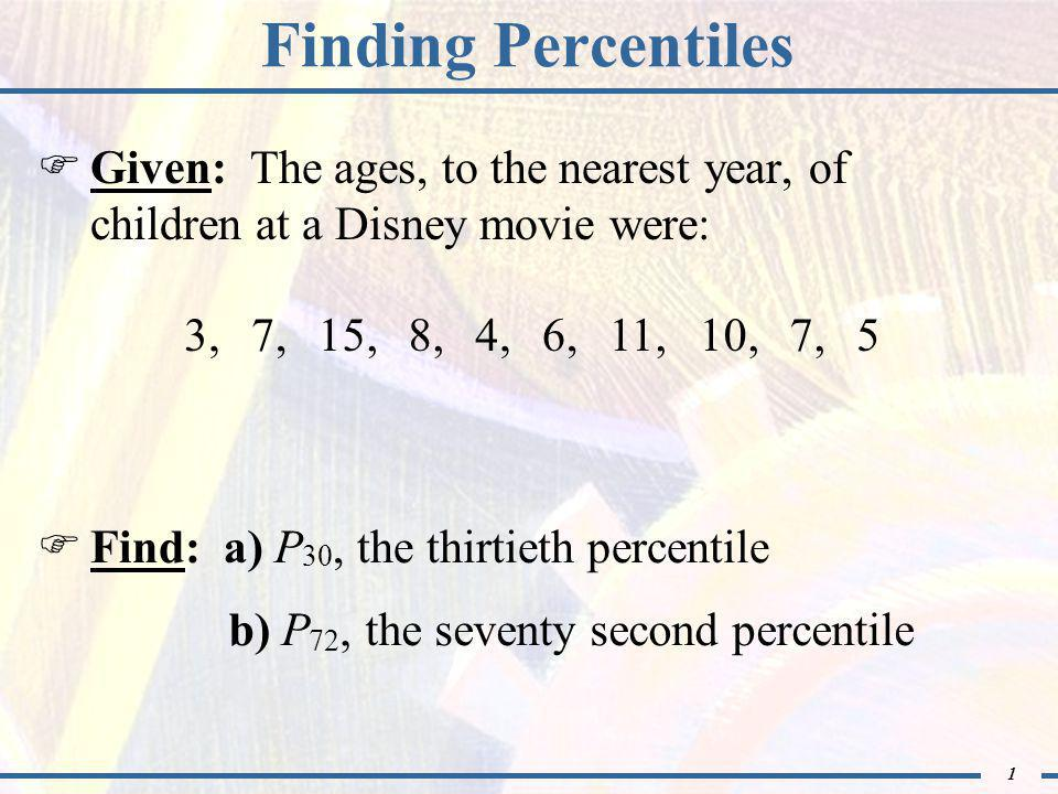 1 Finding Percentiles  Given: The ages, to the nearest year, of children at a Disney movie were:  Find: a) P 30, the thirtieth percentile 3,7,15,8,4,6,11,10,7,5 b) P 72, the seventy second percentile