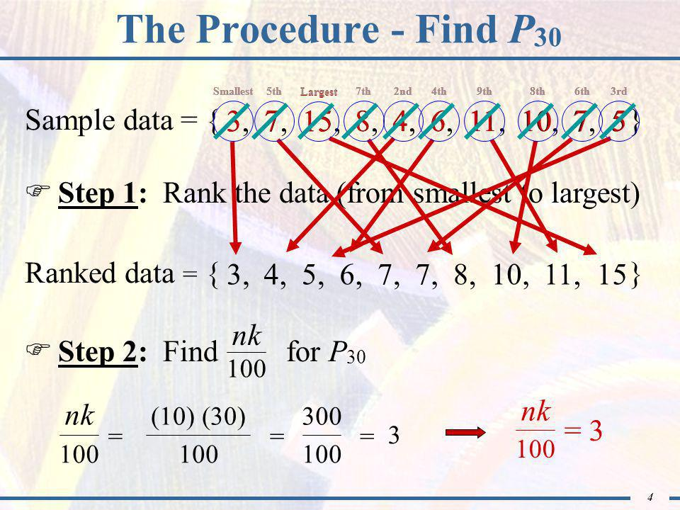 4 Ranked data = { } The Procedure - Find P 30  Step 1: Rank the data (from smallest to largest) 3,4,5,6,7, 8,10,11, Sample data = { } 3, 7, 15, 8, 4, 6, 11, 10, 7, 5 15 Smallest 3 5th 7 Largest 15 7th 8 2nd 4 4th 6 9th 11 8th 10 6th 7 3rd 5  Step 2: Find for P 30 nk 100 nk 100 = (10) (30) 100 = 300 100 = 3 = 3 nk 100 Smallest5thLargest7th2nd4th9th8th6th3rd