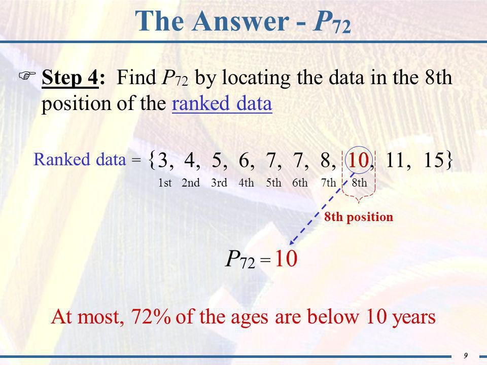 9 The Answer - P 72  Step 4: Find P 72 by locating the data in the 8th position of the ranked data Ranked data = { } 3,4,5,6,7, 8,10,11,15 1st2nd3rd4th 8th position P 72 = At most, 72% of the ages are below 10 years 5th6th7th8th 10