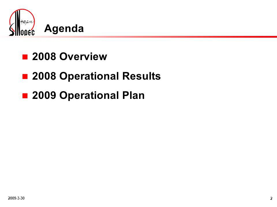 2009-3-30 Agenda 2008 Overview 2008 Operational Results 2009 Operational Plan 2