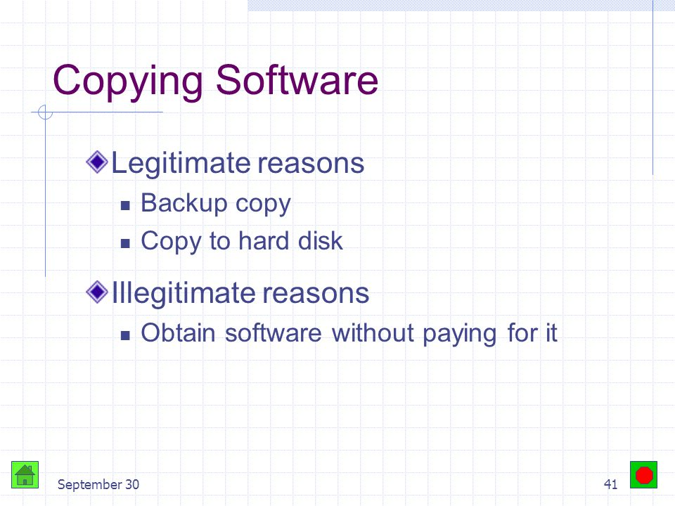 September 3040 Counterfeiting Software is copied onto CD-ROMS / DVD- ROMS Packaging duplicates the original Sold in flea markets or small stores Signi