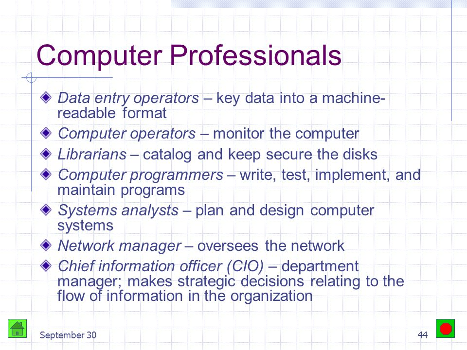 September 3043 Computer Professionals Management Information Systems (MIS) Computer Information Systems (CIS) Computing Services Information Services Information Technology (IT)