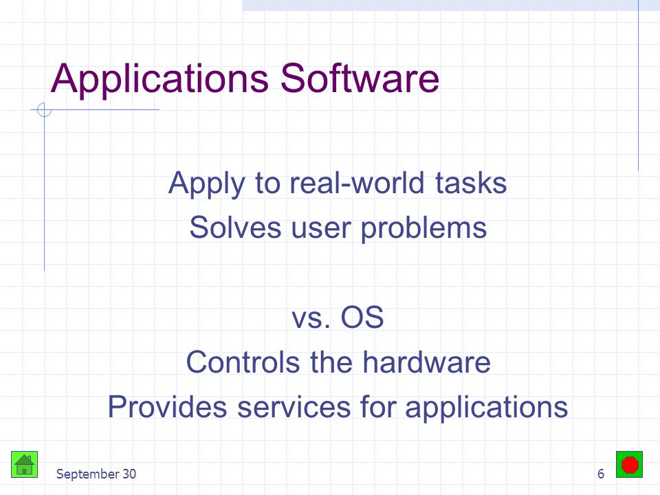 September 305 Objectives Distinguish between operating systems and applications software List the various methods by which individuals and businesses