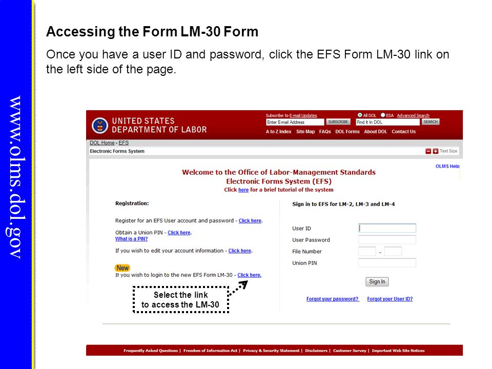www.olms.dol.gov Once you have a user ID and password, click the EFS Form LM-30 link on the left side of the page. Accessing the Form LM-30 Form Selec