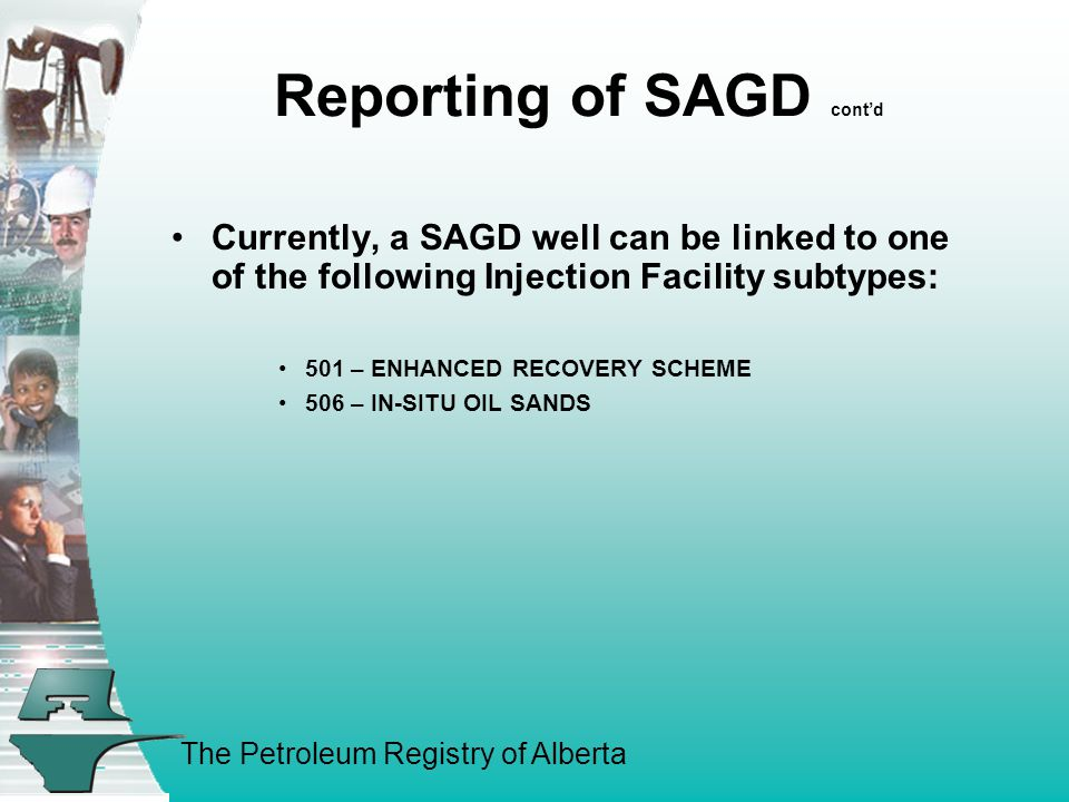The Petroleum Registry of Alberta Reporting of SAGD cont'd Currently, a SAGD well can be linked to one of the following Injection Facility subtypes: 501 – ENHANCED RECOVERY SCHEME 506 – IN-SITU OIL SANDS