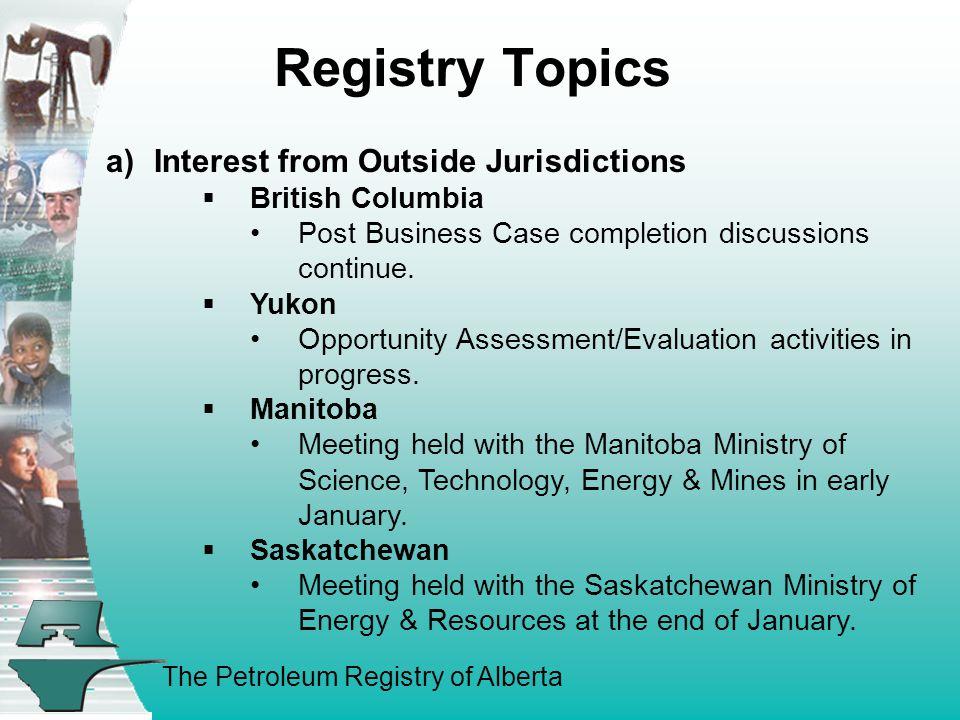 The Petroleum Registry of Alberta 2. ERCB TOPICS